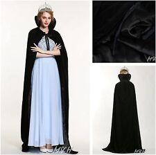 """71"""" Full Length Black Velvet Satin Cloak High Collar Cape Parade Pageant Costume"""