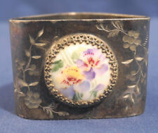 Antique Silverplated Napkin Ring Holder Triangular - Painted Porcelain Medallion