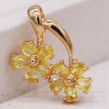 Unique Double Flowers Yellow Crystal Champagne Gold Plated Pendant CZ Jewelry