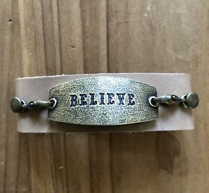 """Lenny and Eva Thin Leather Cuff Bracelet with """"BELIEVE"""" Sentiment Free Shipping"""