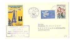 FRANCE FRANCAISE 1962 LUFTHANSA FIRST FLIGHT COVER PARIS STUTTGART MUNICH