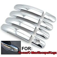For 2013-2019 Ford Escape 2012-2018 Focus Chrome Door Handle Covers W/O Smartkey