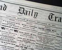 Rare OAKLAND CA Alameda County California San Fran. Bay OLD WEST 1871 Newspaper