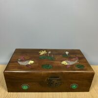 Collect Noble old Boxwood Inlay Conch fish lotus Usable Precious big Jewelry Box