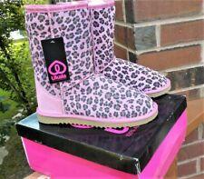 NIB Ukala Ally Leopard Print Pink Suede Wool Lined Short Boots Women's Size 6