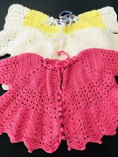 Lot Of 3 Hand Crochet Vintage Baby Cardigans 0-6 Months