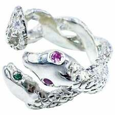 Women's Green Emerald & Pink Sapphire Silver Snake Statement Cocktail Ring Band
