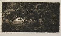 """Radierung von J. Ed. Marak """"Mondaufgang"""" 1875 Druckgrafik Zeichnung Kunst sf"""