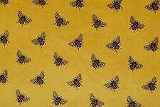 "BEE PRINT ON GOLD CORD CORDUROY 100% COTTON 11 WALE FABRIC 56"" WIDTH"