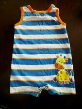 Boys 6-9 Months Garanimals Blue/White/Orange Sleeveless Striped Giraffe Romper