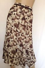 Kaleidoscope~ Brown & Ivory Floral Print Chiffon Skirt  Size 16~ rrp £35 ~ref 4