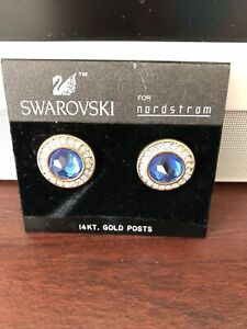 Swarovski Blue Crystal Earrings Swan Logo For Nordstrom 14K Gold Posts