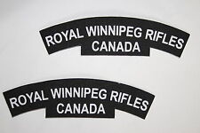 CANADA CANADIAN WW2 STYLE PRINTED SHOULDER TITLE PAIR ROYAL WINNIPEG RIFLES