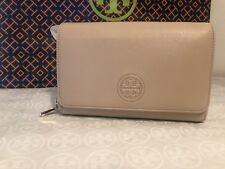 NWT Authentic Tory Burch Bombe Flat Cross-Body Wallet (Light Oak) Leather