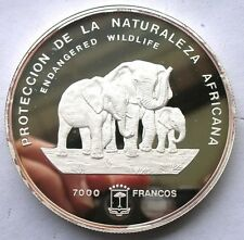 Equatorial Guinea 1995 Elephant 5oz 7000 Francs Silver Coin,Proof-D