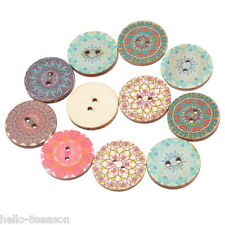 50PCs 25mm Sewing Scrapbooking 2-hole Wooden Buttons Mixed Round Ethnic