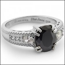 SHINY CANDY RING Glamorous Black Licorice CZ White Gold Plated/Sterling Silver
