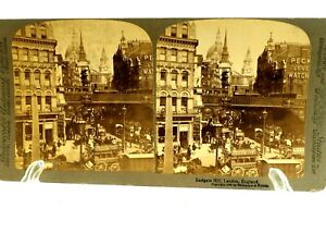 Ludgate Hill,London England 1895 Real Photo Stereoview Card