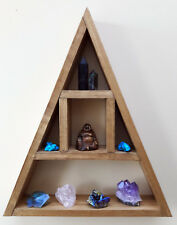 Wood/Wooden Triangular Curiosity Floating Moon Crystal Storage Shelf/Shelving
