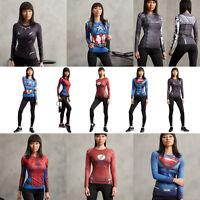 Damen Marvel Superheld T-Shirt Kompression Langarm Kostüm Sport Gym Jersey Top