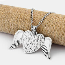 2 Large Antique Silver Love Heart Angel Wing Feather Jewelry Chain Necklace 95cm