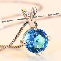 XMAS SALE - 925 Silver & Blue Crystal Diamond Necklace Gifts For Her Wife Women