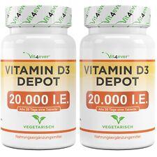 2x Vitamin D3 20.000 I.E. = 480 Tabletten - Hochdosiert mit 20000 IU IE Vit4ever
