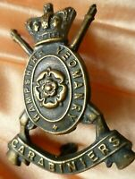 VICTORIAN Hampshire Yeomanry Cap Badge QVC Black BRASS SUPER Antique ORIGINAL