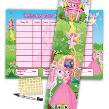 Per bambini principessa ricompensa grafico & altezza grafico (include libero penna e adesivi)