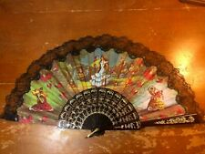 Spanish Flamenco Print Folding Hand Fan with Lace Folkloric Vintage ?