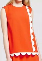 Victoria Beckham For Target Orange Twill Tank Top Scallop Size XS NWT