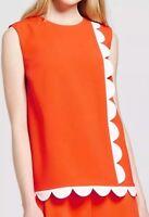 Victoria Beckham For Target Orange Twill Tank Top Scallop  Plus Size 3X NWT