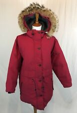 Vtg Woolrich Down Parka Coyote Fur Hood Womens Small Siberian Red Coat Insulated