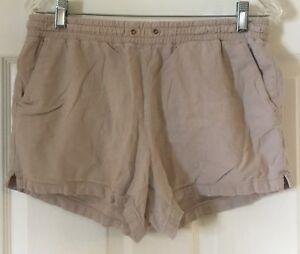 Women H&M Beige Linen Blend Casual Soft Shorts Sz 8 EUC pockets Elastic Waist