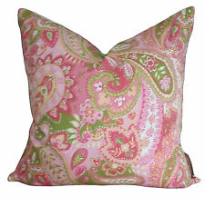 Shabby Chic Paisley Green Pink Vintage Designer Decorative Pillow Cushion Cover