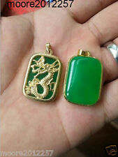 Rare China's Green Jade Gold plated Dragon reiki Amulet pendant Necklaces