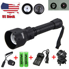Zoom OSRAM Infrared IR 850nm Night Vision LED Flashlight Torch 2x18650+Gun Mount