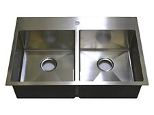 "Auric 33"" Premium Stainless Steel Top-mount 50/50 Double Bowl Sink 7-Gauge Deck"
