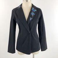Bob Mackie Womens Size Small Blazer Black Jeweled Embellished Collar