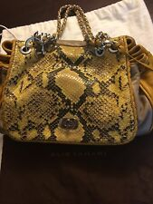 SMALL ELIE TAHARI YELLOW/BEIGE LEATHER, SNAKESKIN EMBOSSED, HANDBAG/SHOULDER BAG