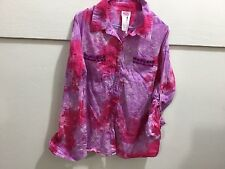 Justice youth size 14 girls tye dye beaded detailed button down adorable blouse
