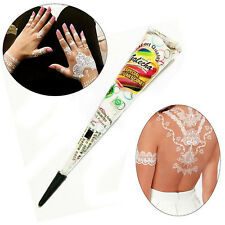 White Body Art Paint Temporary Tattoo kit Natural Herbal Henna Cones Mehandi Ink