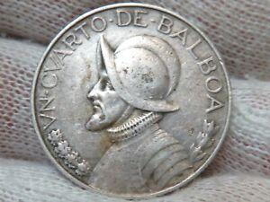 193 Silver Republic of Panama Quarter Balboa 1/4 Balboa with Free Shipping