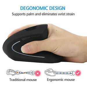 2.4GHz Ergonomic Wireless Vertical Optical Mouse For PC Laptop Computer +USB