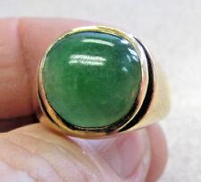Estate 14k Men's Natural Untreated Green Jadeite Jade Ring size 9.5  Make Offer