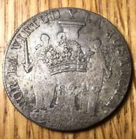 1823 1824 Royal counterstamp Peru Lima 8 reales silver VF XF nicely toned