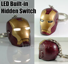 Avengers Iron Man Mark 3 III IV VI VII Head Key Chain Ring DIY LED Not Hot Toys