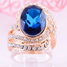 Blue Topaz & White Sapphire Oval Cut Halo Ring 14 ct Gold Filled - Size 5