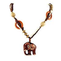 Boho Style Sweater Chain Elephant Pendant Long Necklace Handmade Wood Bead