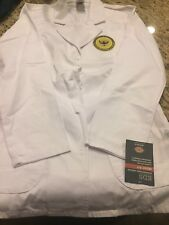 "Dickies 29"" Lab Coat 84405 DWHZ White Missy Fit EDS Small Wyoming Patch"